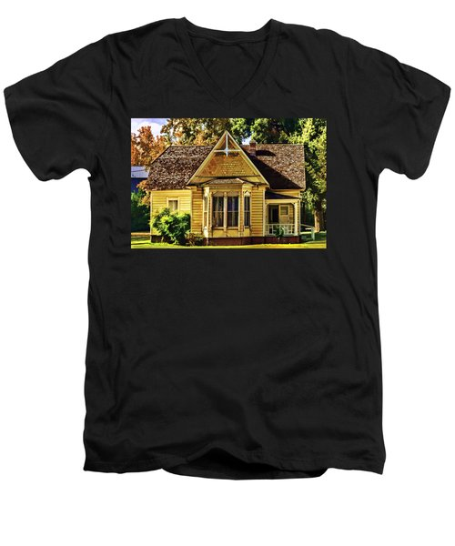 Men's V-Neck T-Shirt featuring the painting Sweet Home by Muhie Kanawati