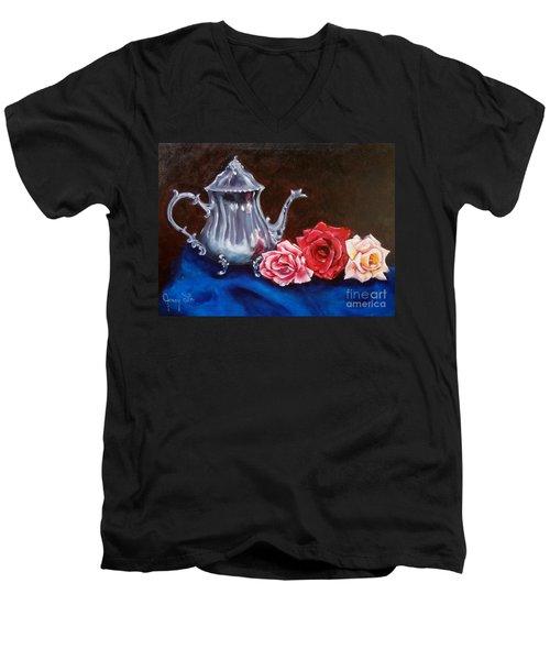 Teapot And Roses Men's V-Neck T-Shirt