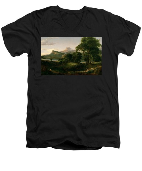The Course Of Empire The Arcadian Or Pastoral State Men's V-Neck T-Shirt