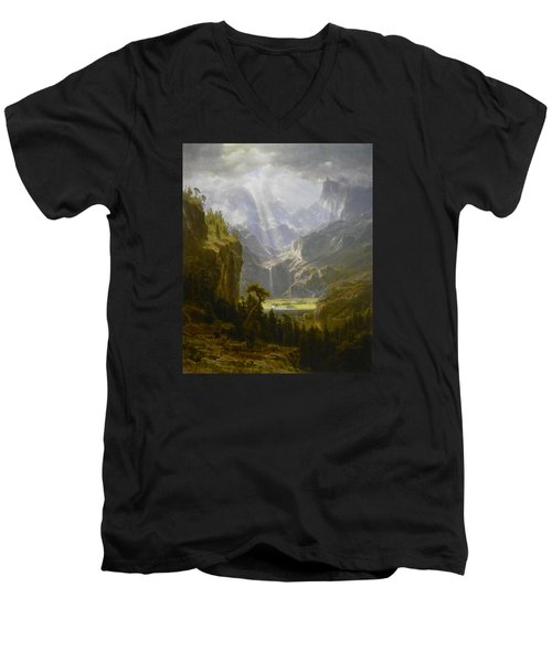 The Rocky Mountains Lander's Peak Men's V-Neck T-Shirt by Celestial Images