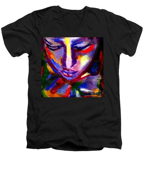 Men's V-Neck T-Shirt featuring the painting The Universe And Me by Helena Wierzbicki