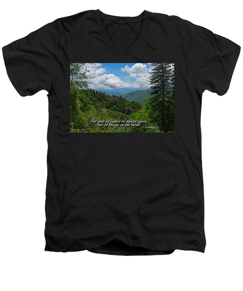 Men's V-Neck T-Shirt featuring the photograph Things Above by Larry Bishop