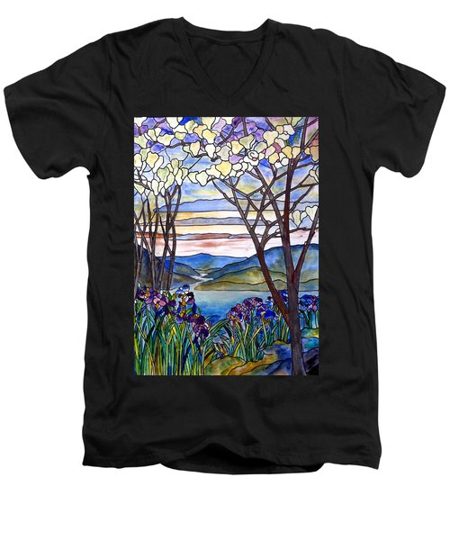 Stained Glass Tiffany Frank Memorial Window Men's V-Neck T-Shirt by Donna Walsh