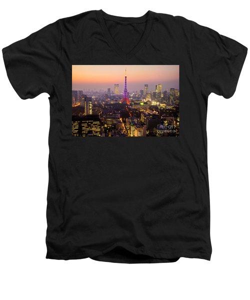 Tokyo Tower - Tokyo - Japan Men's V-Neck T-Shirt by Luciano Mortula