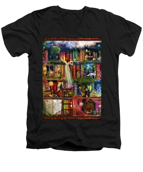 Treasure Hunt Book Shelf Men's V-Neck T-Shirt by Aimee Stewart
