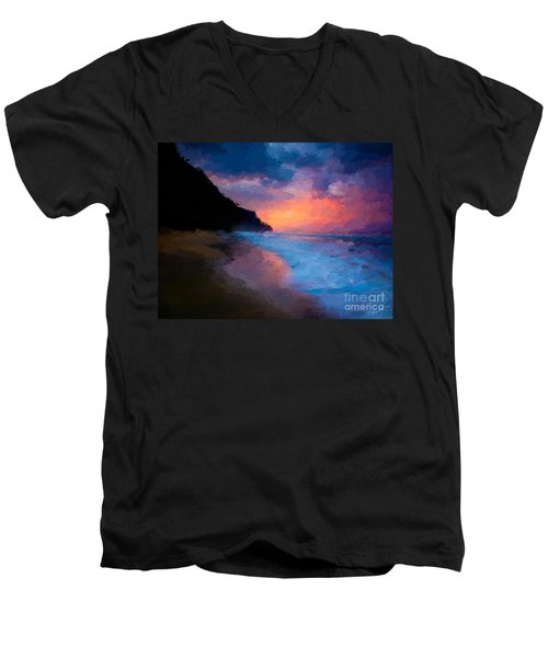 Tropical Paradise Men's V-Neck T-Shirt by Anthony Fishburne