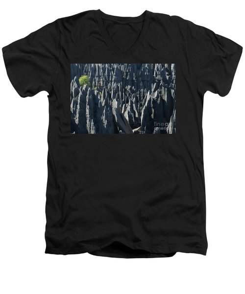 Men's V-Neck T-Shirt featuring the photograph Tsingy De Bemaraha Madagascar by Rudi Prott
