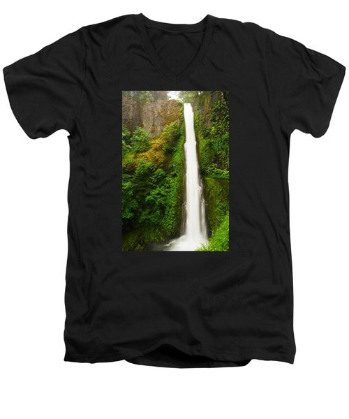 Tunnel Falls  Men's V-Neck T-Shirt by Jeff Swan
