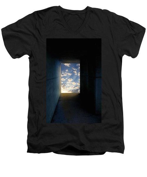 Tunnel With Light Men's V-Neck T-Shirt by Melinda Fawver