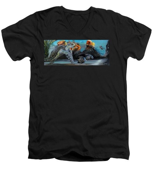 Men's V-Neck T-Shirt featuring the painting Underwater Beauty by Donna Tuten