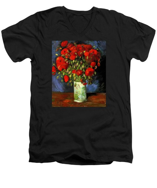 Vase With Red Poppies Men's V-Neck T-Shirt