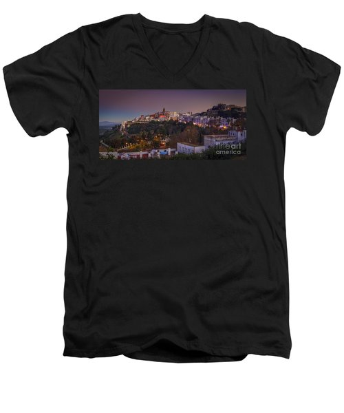 Vejer De La Frontera Panorama Cadiz Spain Men's V-Neck T-Shirt