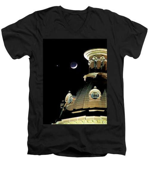 Venus And Crescent Moon-1 Men's V-Neck T-Shirt