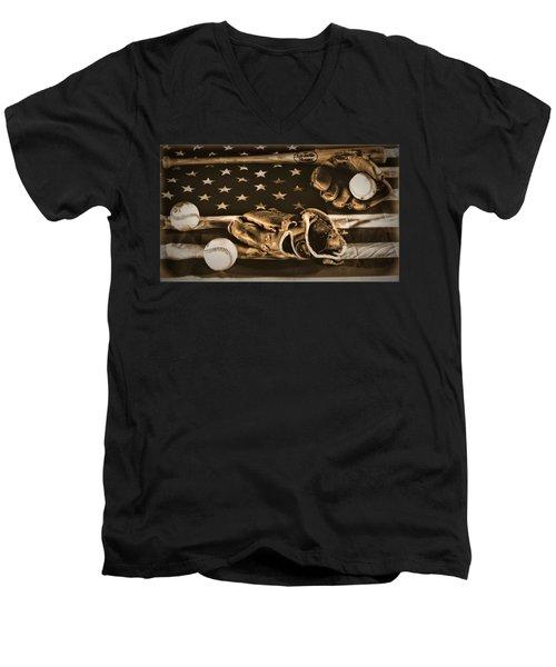 Vintage Baseball Men's V-Neck T-Shirt