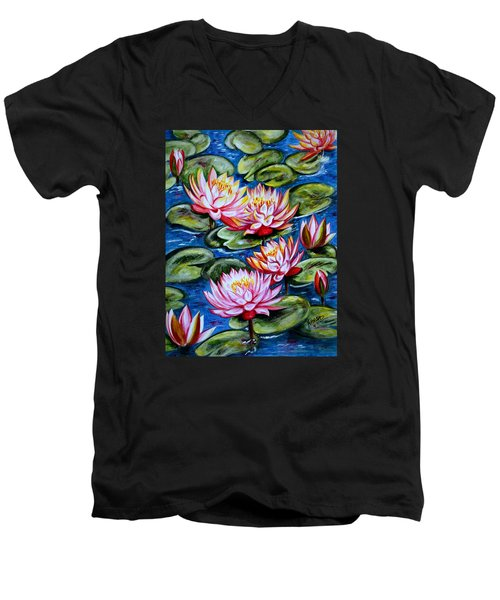 Men's V-Neck T-Shirt featuring the painting Water Lilies by Harsh Malik