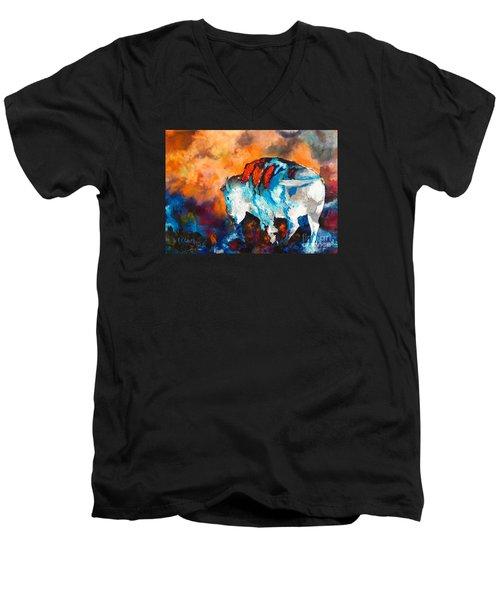 White Buffalo Ghost Men's V-Neck T-Shirt by Karen Kennedy Chatham