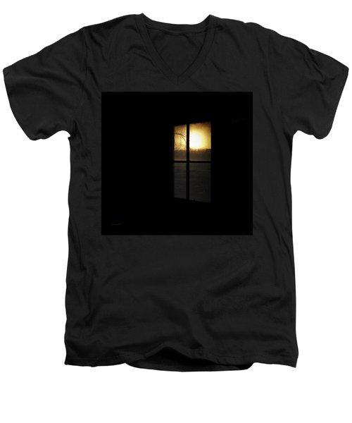 Winter Sunset Men's V-Neck T-Shirt by Cynthia Lassiter
