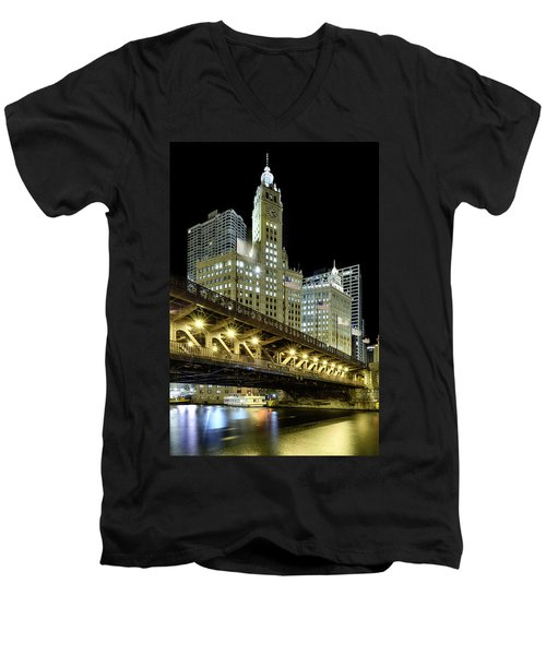 Men's V-Neck T-Shirt featuring the photograph Wrigley Building At Night by Sebastian Musial