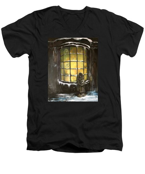 Men's V-Neck T-Shirt featuring the painting Ye Old Shoppe  by Jean Walker