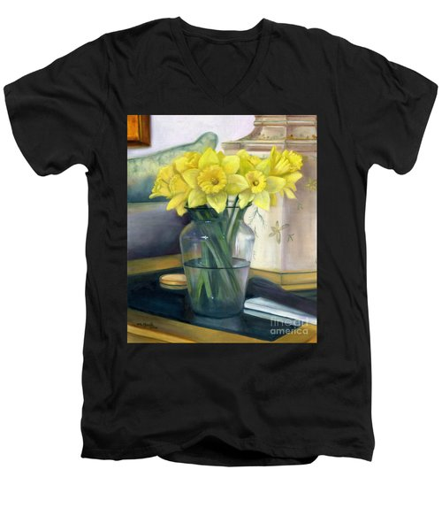 Yellow Daffodils Men's V-Neck T-Shirt by Marlene Book