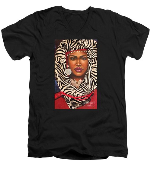 Men's V-Neck T-Shirt featuring the painting Red by Alga Washington