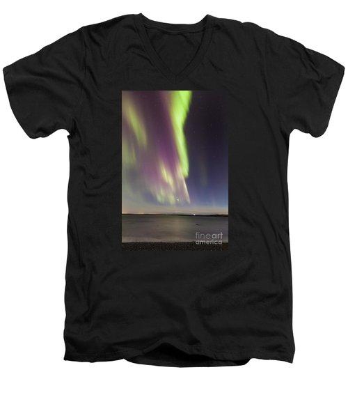 Northern Lights Iceland Men's V-Neck T-Shirt by Gunnar Orn Arnason