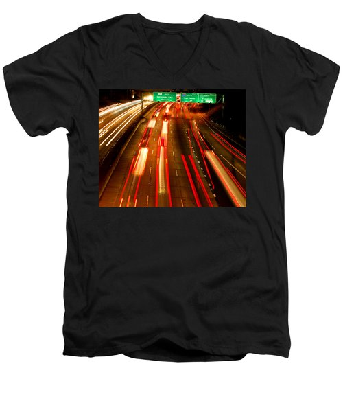 Men's V-Neck T-Shirt featuring the photograph 101 At Night by Matt Harang