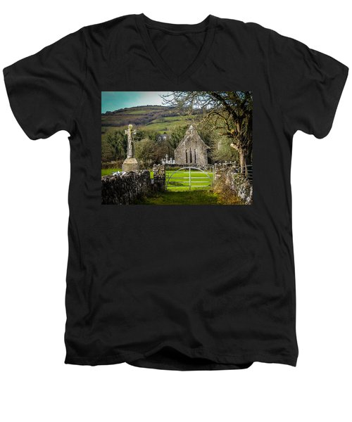 12th Century Cross And Church In Ireland Men's V-Neck T-Shirt