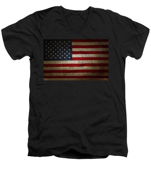 American Flag 56 Men's V-Neck T-Shirt