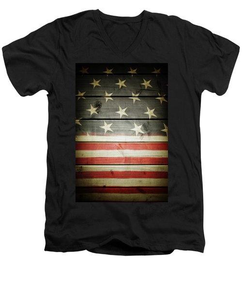 American Flag 58 Men's V-Neck T-Shirt