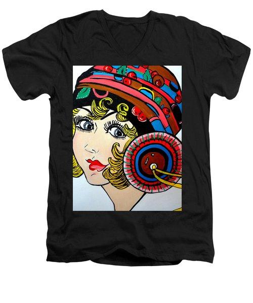 Art Deco  Ann Men's V-Neck T-Shirt