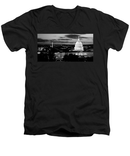 High Angle View Of A City Lit Men's V-Neck T-Shirt by Panoramic Images