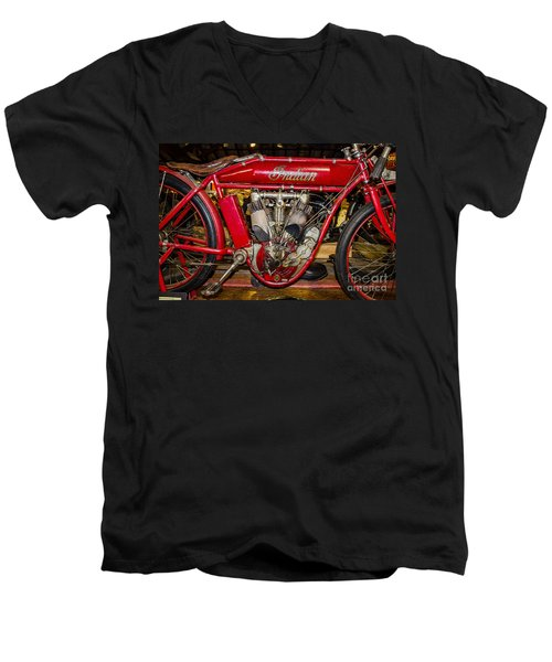 Men's V-Neck T-Shirt featuring the photograph 1915 Indian Model D1 by Paul Mashburn