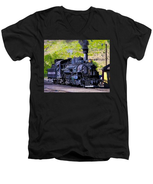 1923 Vintage  Railroad Train Locomotive  Men's V-Neck T-Shirt