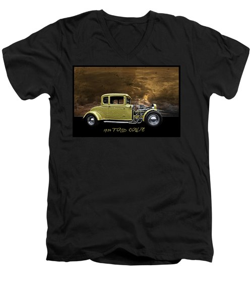 Men's V-Neck T-Shirt featuring the digital art 1930 Ford Coupe by Richard Farrington