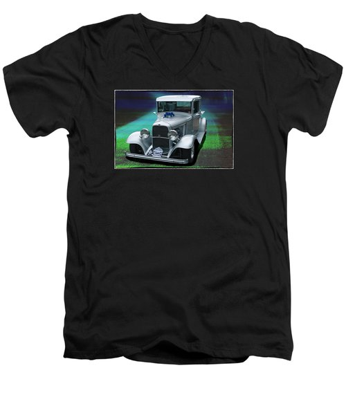 Men's V-Neck T-Shirt featuring the digital art 1932 Ford Pickup by Richard Farrington