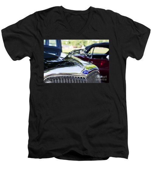 Men's V-Neck T-Shirt featuring the photograph 1933 Ford Hood Ornament by Paul Mashburn