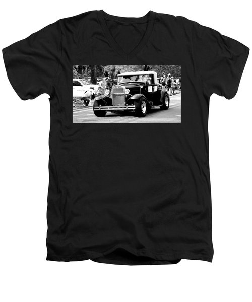 Men's V-Neck T-Shirt featuring the photograph 1934 Classic Car In Black And White by Ester  Rogers