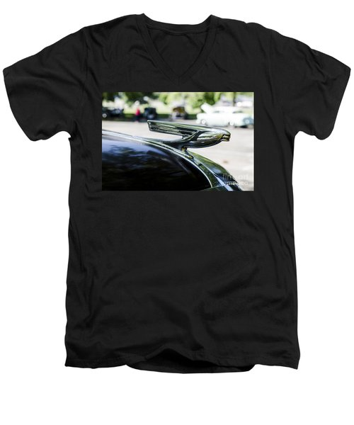 Men's V-Neck T-Shirt featuring the photograph 1937 Chevy Hood Ornament by Paul Mashburn