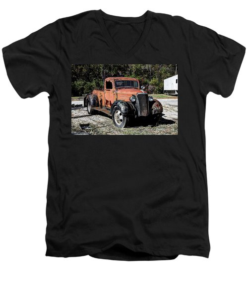 Men's V-Neck T-Shirt featuring the photograph 1937 Chevy Wrecker by Paul Mashburn