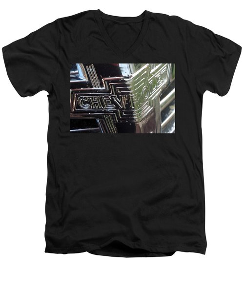 Men's V-Neck T-Shirt featuring the photograph 1938 Chevrolet Sedan Emblem by Joseph Skompski