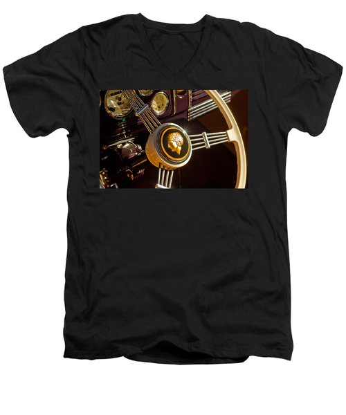 Men's V-Neck T-Shirt featuring the photograph 1939 Ford Standard Woody Steering Wheel by Jill Reger