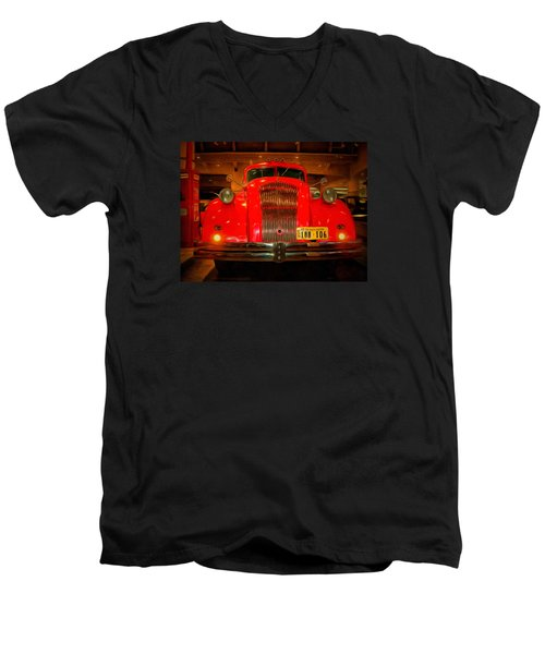 1939 World's Fair Fire Engine Men's V-Neck T-Shirt by MJ Olsen