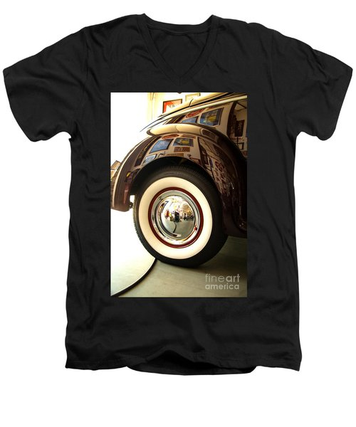Men's V-Neck T-Shirt featuring the photograph Classic Maroon 1940 Ford Rear Fender And Wheel   by Jerry Cowart