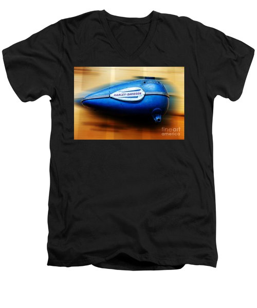 Men's V-Neck T-Shirt featuring the photograph 1940s Harley Tank by Paul Mashburn