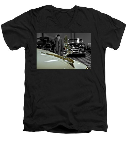 1947 Packard Hood Ornimate Men's V-Neck T-Shirt by Michael Gordon