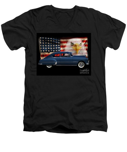 Men's V-Neck T-Shirt featuring the photograph 1949 Pontiac Tribute Roger by Peter Piatt