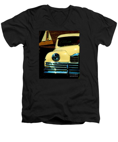 Men's V-Neck T-Shirt featuring the photograph 1950 Yellow Packard by Janette Boyd