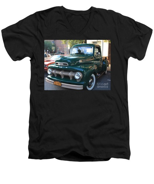 1952  Ford Pick Up Truck Front And Side View Men's V-Neck T-Shirt by John Telfer