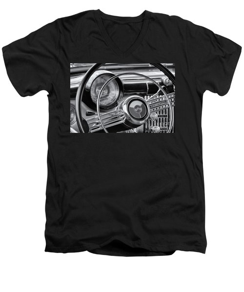 1953 Buick Super Dashboard And Steering Wheel Bw Men's V-Neck T-Shirt by Jerry Fornarotto